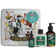 Proraso Beard Kit Refresh -  sada na bradu v plechovej krabičke s vôňou eukalyptu a mentolového oleja