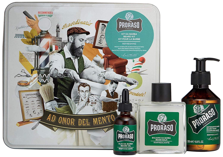 Proraso Beard Kit Refresh - sada na bradu v plechové krabičce s vůní eukalyptu a mentolového oleje