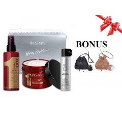 Vianočný Balíček: UNIQ ONE Care - regeneračná kúra pre všetky typy vlasov, 150 ml + maska na vlasy, 300 ml + lak na vlasy, 75 ml + kabelka s kožušinkou