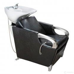 Kadeřnický mycí box ATLAS bílé umyvadlo, matno černá