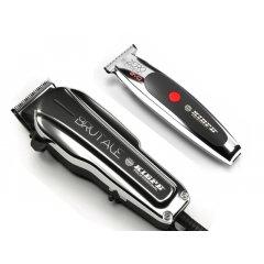 Kiepe Silver Pack - profesionální síťový strojek Brutale 6310 + akumulátorový konturovací strojek Zero Estremo T Hair EVO Trimmer 6330 + Gembird - stlačený vzduch, 400 ml
