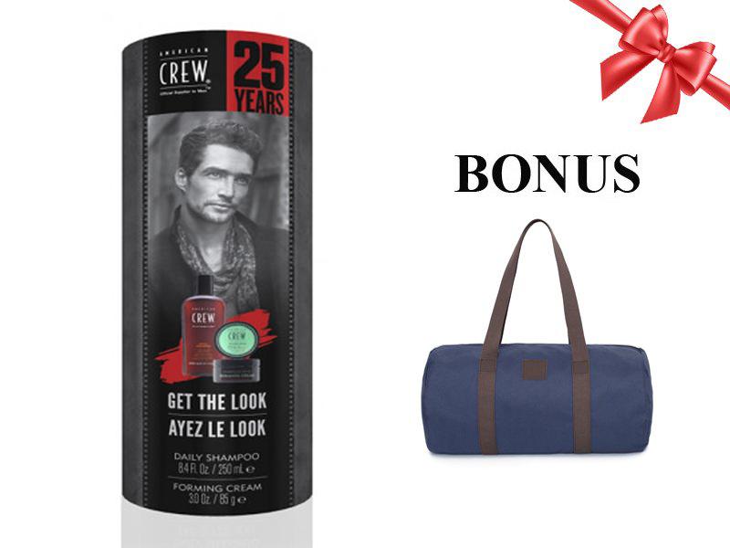 American Crew Get The Look Forming - sada šampón Daily, 250 ml + krém Forming, 85 g + pánska taška