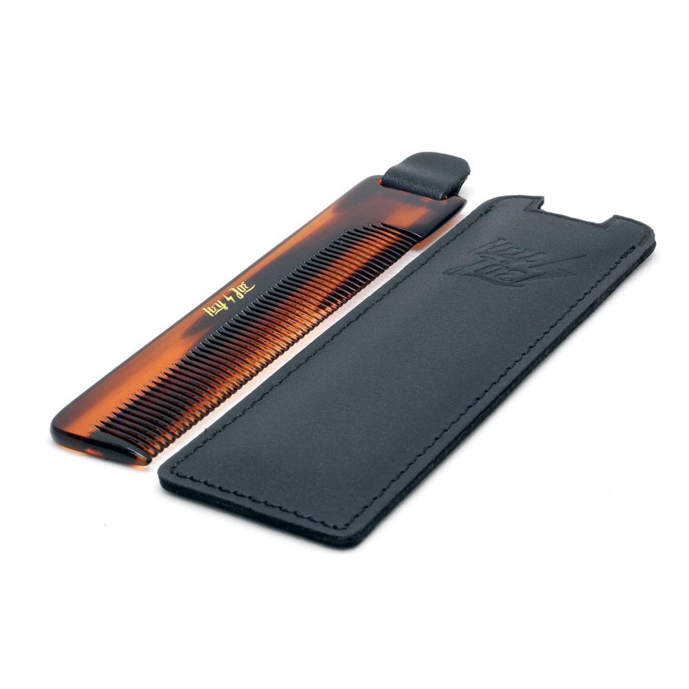 Hey Joe! Deluxe comb leather case - praktický hřeben v koženém pouzdře