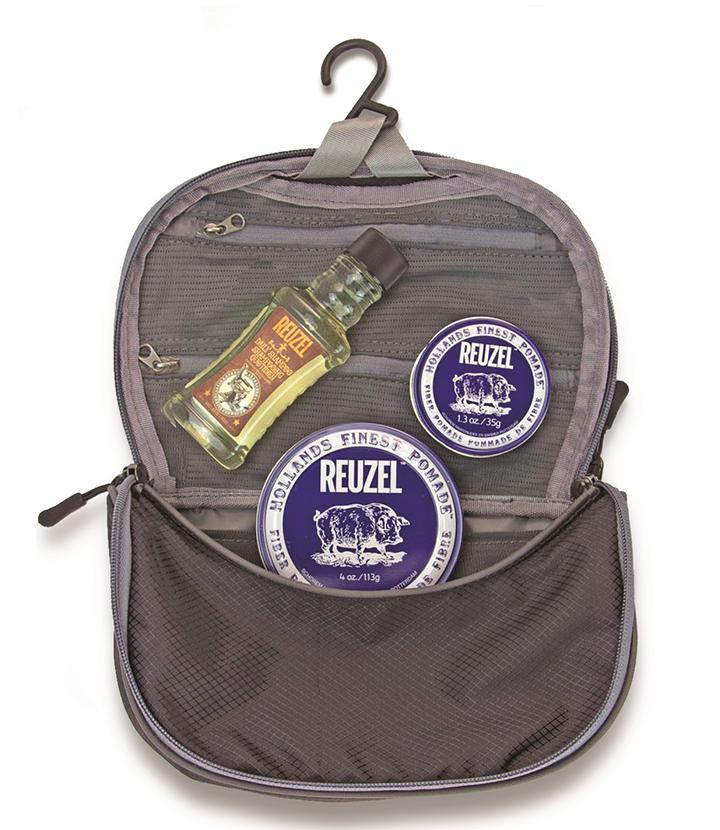Reuzel Pigs Can Fly Dopp Bag Fiber - sada pomáda, 113 g + pomáda, 35 g + Daily šampón, 100 ml + taštička