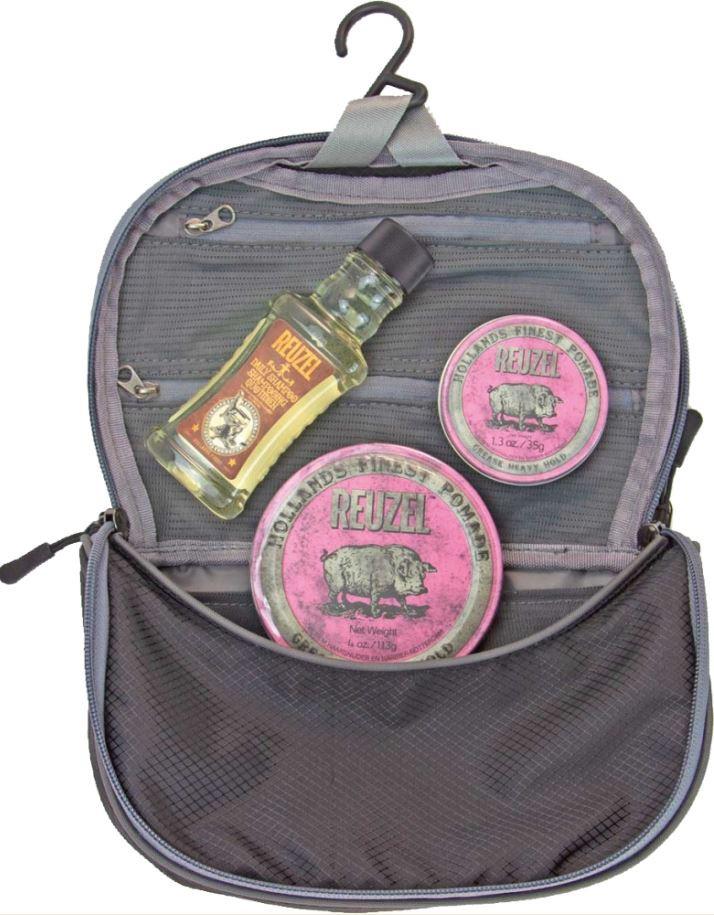 Reuzel Pigs Can Fly Dopp Bag Pink - sada pomáda, 113 g + pomáda, 35 g + Daily šampón, 100 ml + taštička