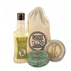 Reuzel Sh*t Shower & Shave - sada šampón 3v1, 350 ml + krém na holenie, 95 g + Green sviečka + vrecúško