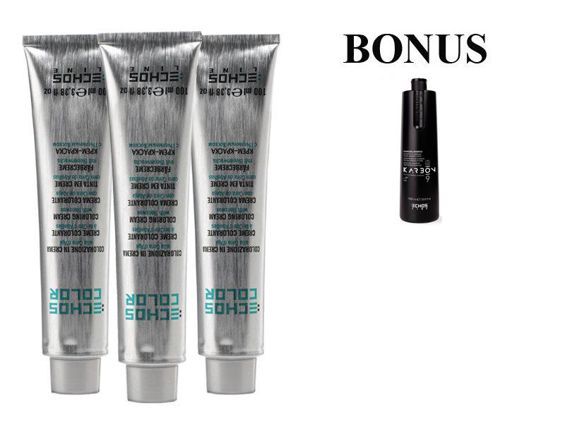 AKCIA: 10 ks ECHOSLINE COLOR prof. krémová farba na vlasy + Karbon šampón, 1000 ml