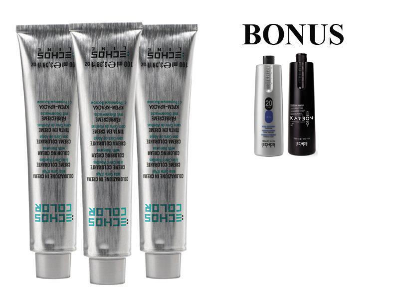 AKCE: 15 ks ECHOSLINE COLOR prof. krémová barva na vlasy + oxidant 6%, 1000 ml + Karbon šampon, 1000 ml