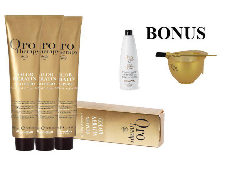 AKCIA: 15 ks Fanola Oro puro - profesionálna bezamoniaková farba na vlasy, 100 ml + oxidant 6% 1000 ml + miska a štetec