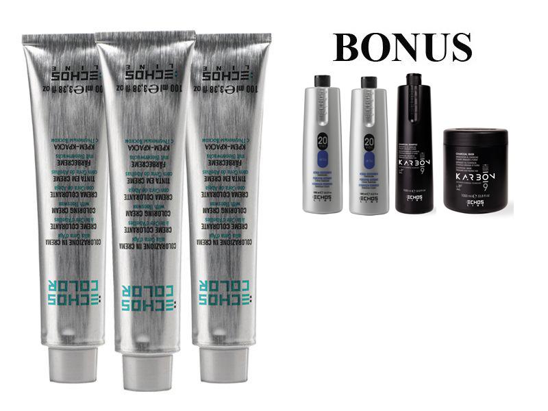 AKCE: 20 ks ECHOSLINE COLOR prof. krémová barva na vlasy + 2x oxidant 6%, 1000 ml + Karbon šampon, 1000 ml + Karbon maska, 1000 ml