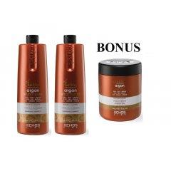 AKCIA: 2x Echosline seliár argan shampoo - výživný šampón na vlasy s argánovým a ľanovým olejom, 1000 ml + maska 1000 ml