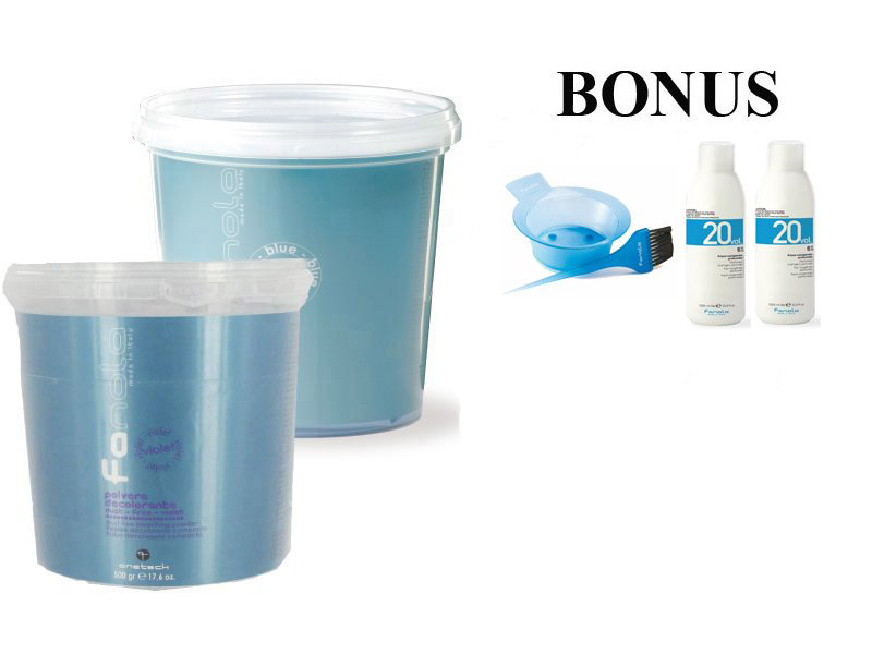 AKCIA: 2x - Fanola Polvere decolorante blue a Polvere decolorante violet- modrý a fialový zosvetľovací systém 500 g + 2x peroxid 6% 1000 ml + miska a štetec