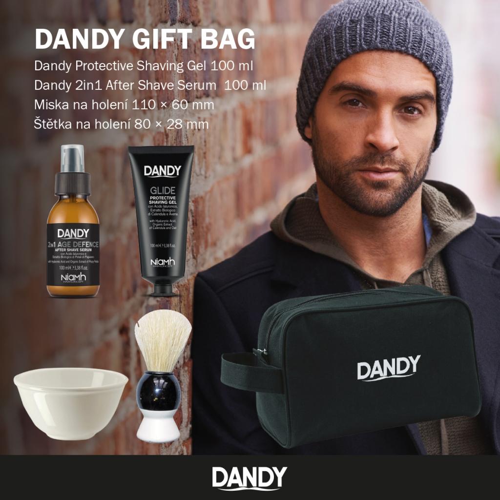 DANDY Gift Bag - gél na holenie, 100 ml + sérum po holení, 100 ml + miska + štetka + toaletná taška