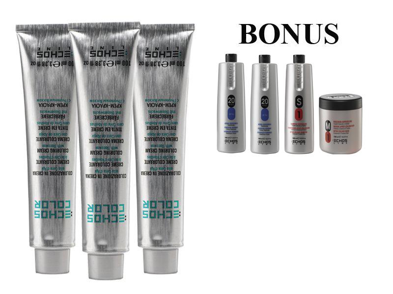 AKCE: 20 ks ECHOSLINE COLOR prof. krémová barva na vlasy + 2x oxidant 6%, 1000 ml + S1 šampon, 1000 ml + M1 maska, 1000 ml