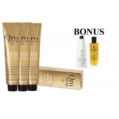 AKCIA: 20 ks Fanola Oro puro - profesionálna bezamoniaková farba na vlasy, 100 ml + Oxidant 6% 1000 ml + Oro Puro olej, 100 ml