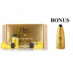AKCIA: Fanola Oro Puro ampule - regeneračné ampulky na suché a poškodené vlasy,  12x10ml + Oro Puro šampón, 1000 ml