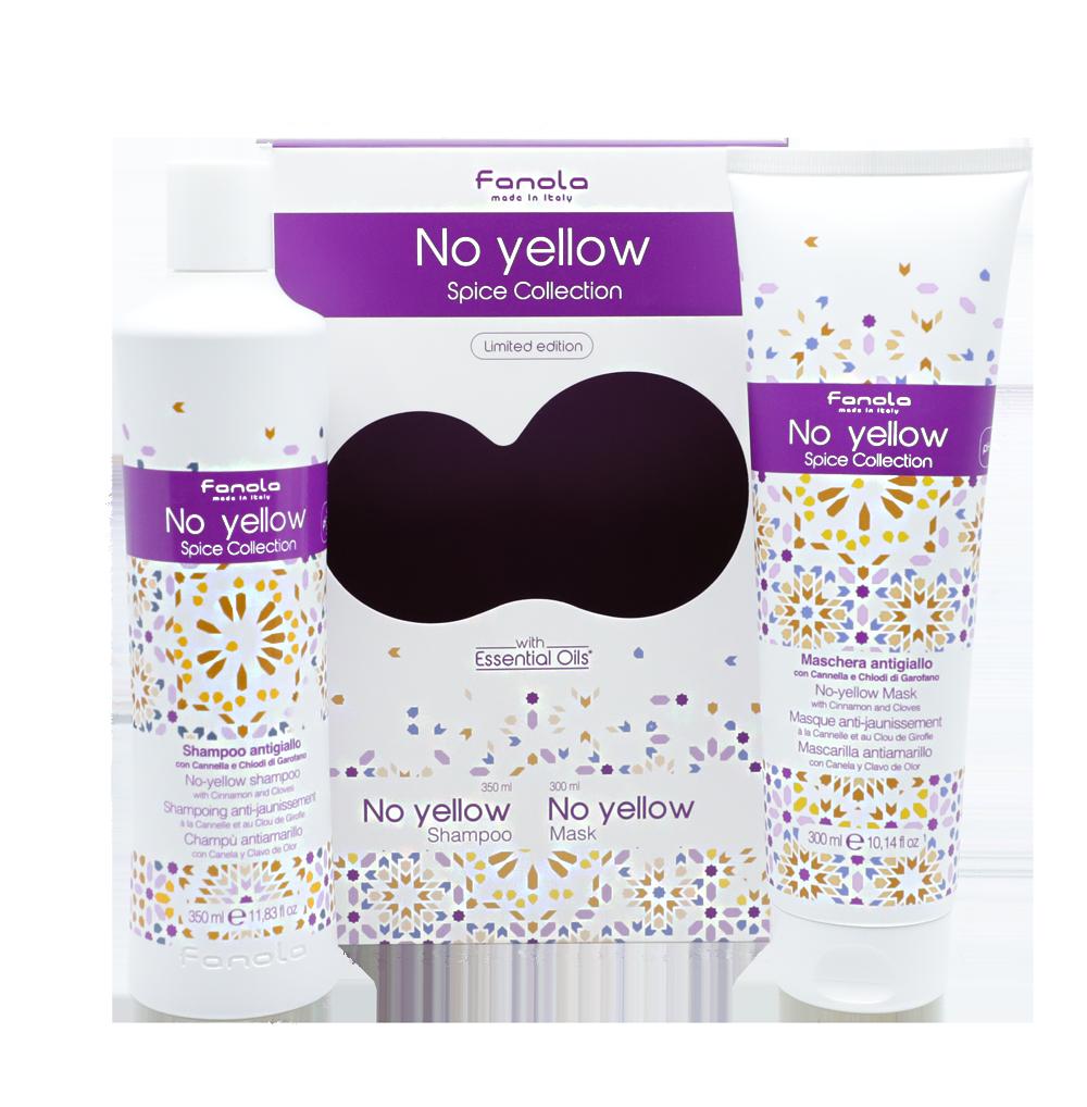Fanola No Yellow Spice Collection set - sada šampón No Yellow, 350 ml + maska No Yellow 300 ml s vôňou škorice a hrebíčku pre šedivé, zosvetlené a odfarbované vlasy
