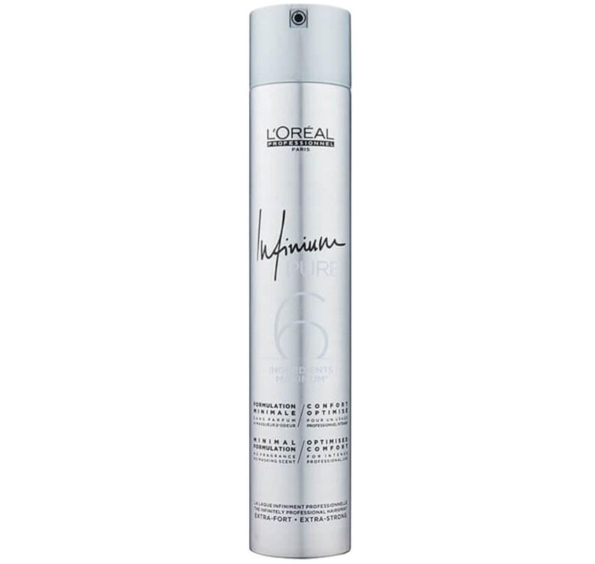 L'Oréal Professionnel Infinium Pure Extra Strong - hypoalergénny lak na vlasy bez parfumácie s extra silnou fixáciou, 500 ml