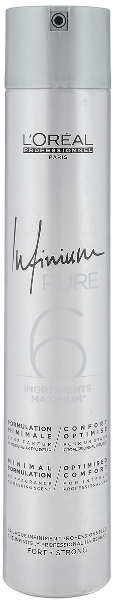 L'Oréal Professionnel Infinium Pure Strong - hypoalergénny lak na vlasy bez parfumácie so silnou fixáciou, 500 ml