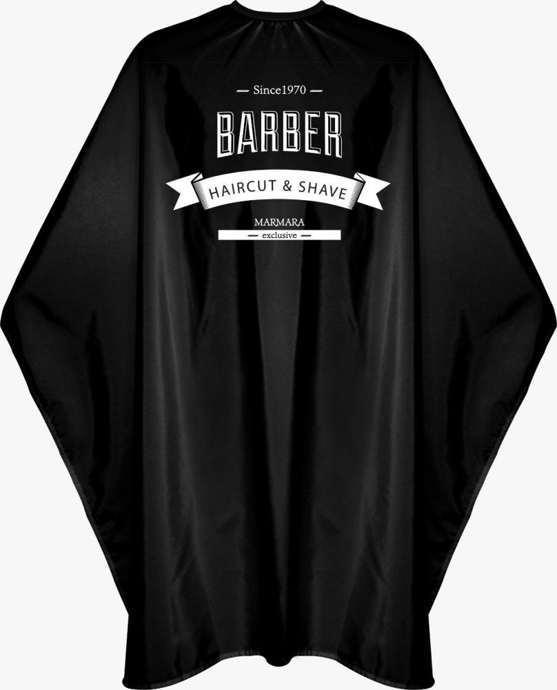 Marmara Barber Cape Black - kadeřnická pláštěnka, černá na háček