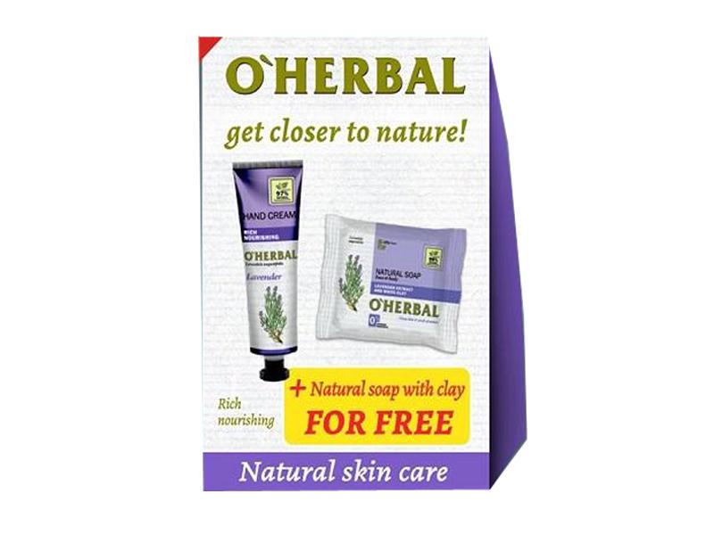 O'Herbal Lavender set 1+1 - krém na ruky bohatá výživa, 30 ml + mydlo Levanduľa, 100 g