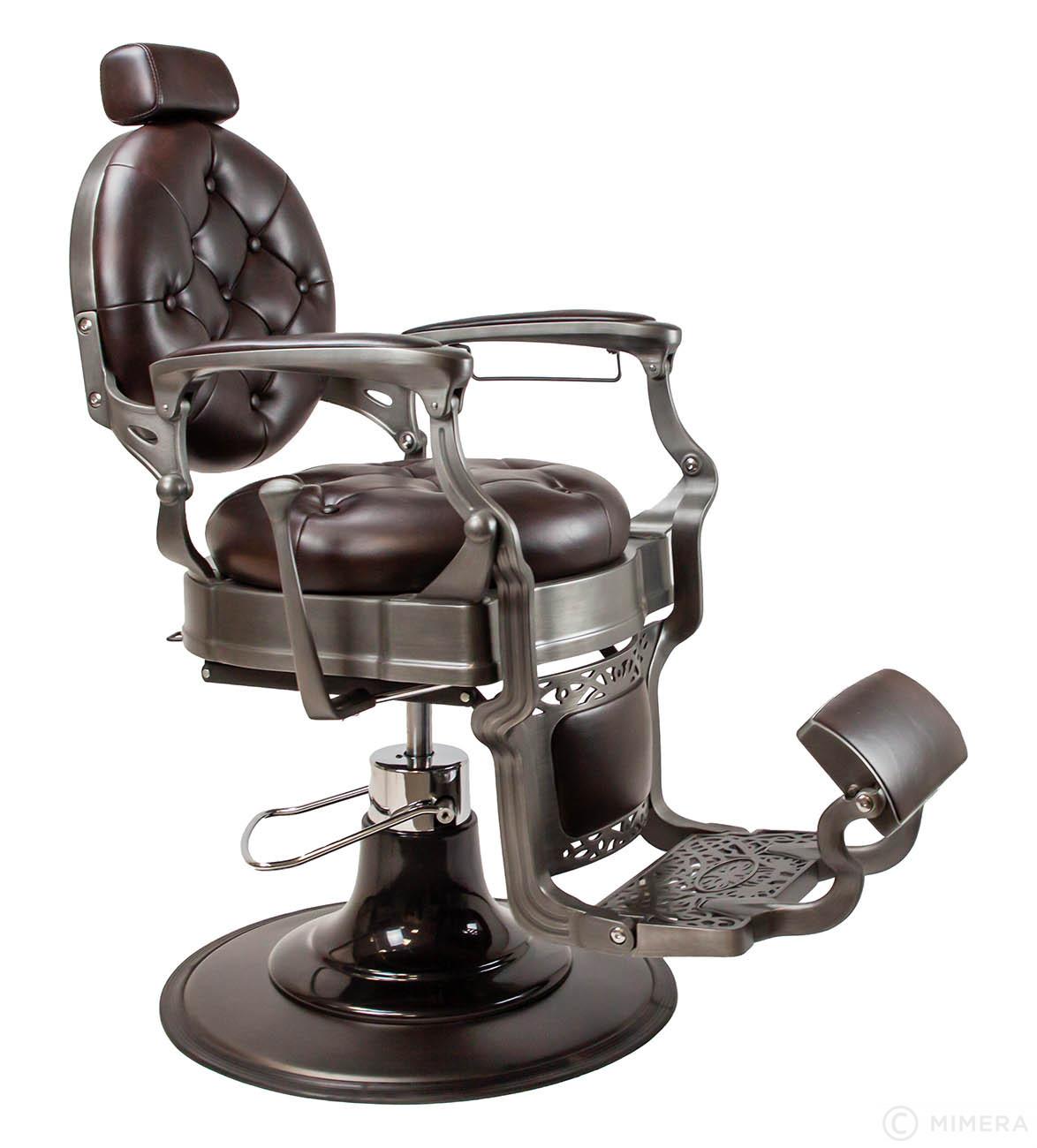 Retro Barber křeslo MONET - lesklé hnědé / černé