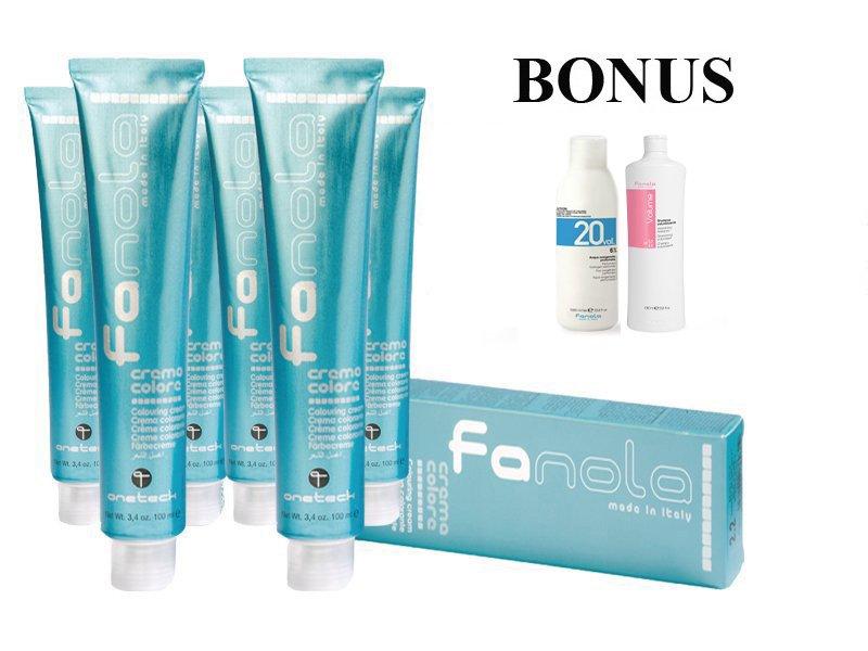 AKCIA: 15 ks Fanola prof. farba na vlasy + peroxid 6% 1000 ml + šampón Volume 1000 ml