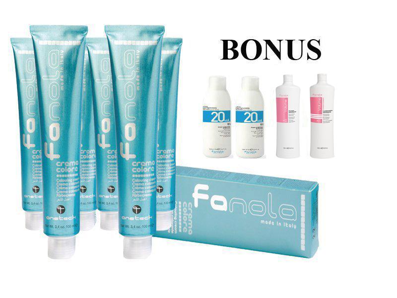 AKCIA: 20 ks Fanola prof. farba na vlasy + 2x oxidant 6%, 1000 ml + Volume šampón, 1000 ml + Volume kondicionér, 1000 ml