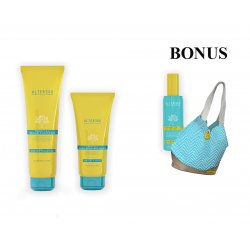 AKCIA: Alter Ego - hydratačný šampón, 300 ml + hĺbkovo obnovujúca maska, 200 ml + DARČEK ochranný olej, 115 ml + plážová taška