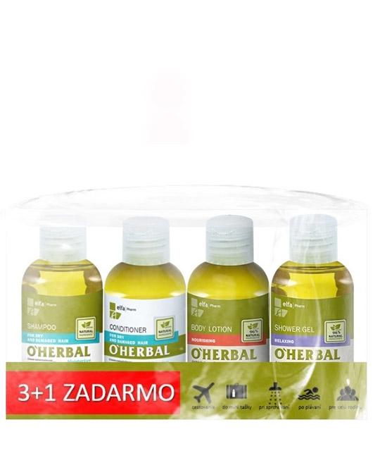 O'Herbal cestovný balíček 3+1 - šampón 75 ml, kondicionér 75 ml, 2x sprchový gél, 75 ml