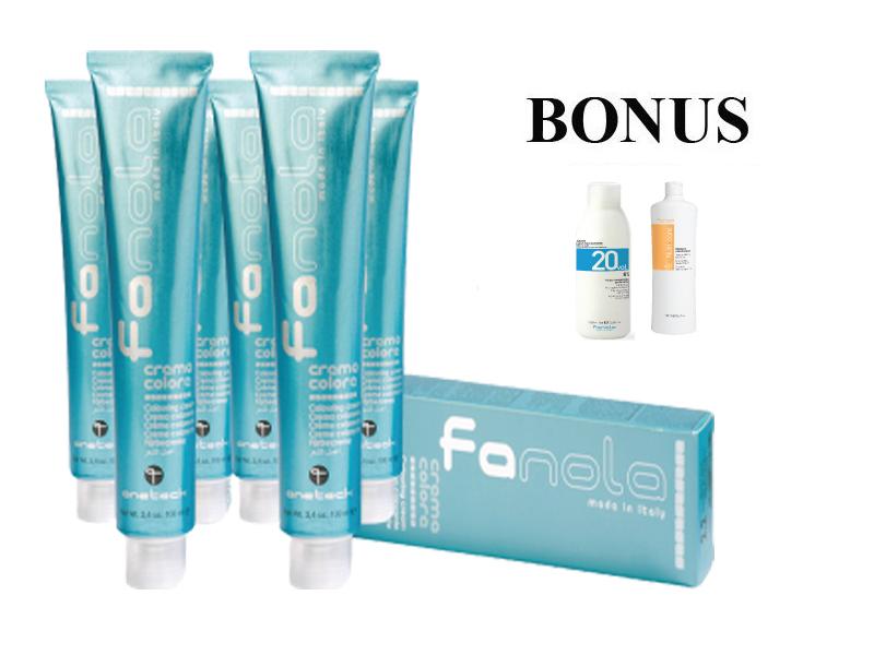 AKCIA: 15 ks Fanola prof. farba na vlasy + peroxid 6% 1000 ml + Nutri care šampón, 1000 ml