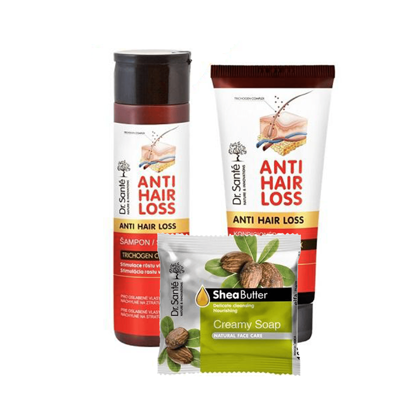 AKCIA: Dr. Santé Gift Pack 2+1 Anti Hair Loss - šampón, 250 ml + kondicionér, 200 ml + mydlo, 100 g
