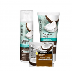 AKCE: Dr. Santé Gift Pack 2 + 1 Coconut - šampon, 250 ml + kondicionér, 200 ml + mýdlo, 100 g