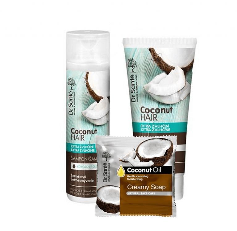 AKCIA: Dr. Santé Gift Pack 2+1 Coconut - šampón, 250 ml + kondicionér, 200 ml + mydlo, 100 g