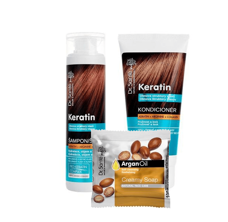 AKCE: Dr. Santé Gift Pack 2 + 1 Keratin - šampon, 250 ml + kondicionér, 200 ml + mýdlo, 100 g