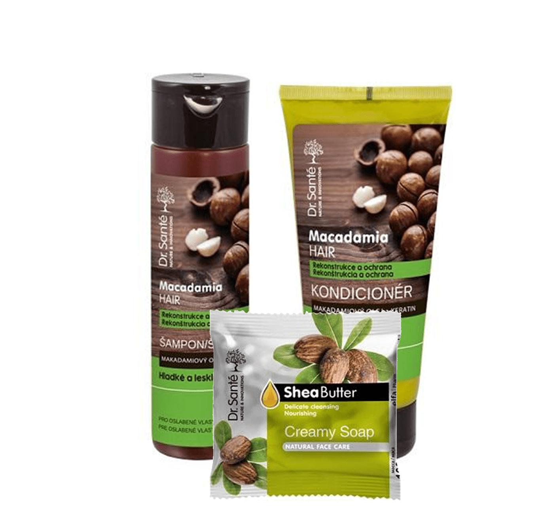 AKCIA: Dr. Santé Gift Pack 2+1 Macadamia - šampón, 250 ml + kondicionér, 200 ml + mydlo, 100 g