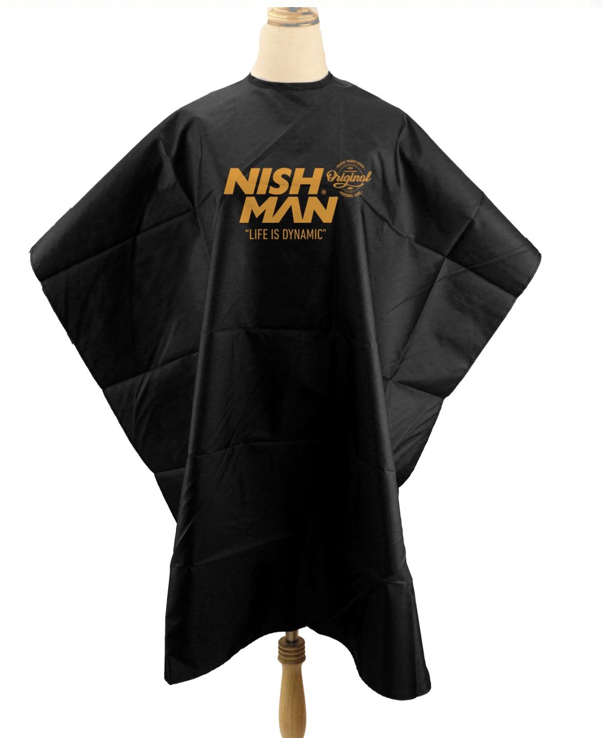 Nishman Barber Cape 02 - čierna barber pláštenka na háčik
