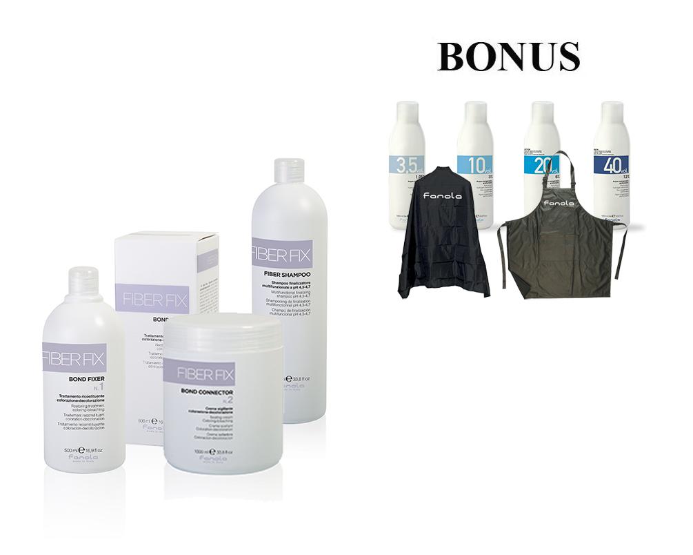 AKCIA: Fanola Fiber Fix - fixer, 500 ml + connector, 1000 ml + šampón, 1000 ml + ZDARMA: pláštenka + zástera + 4x oxidant (1,05%, 3%, 6% a 12%)