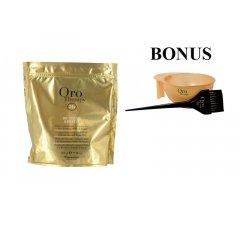 AKCIA: Fanola Oro Therapy De-color KERATIN - melírovací prášok s keratínom a argánovým olejom, 500 g + miska a štetec