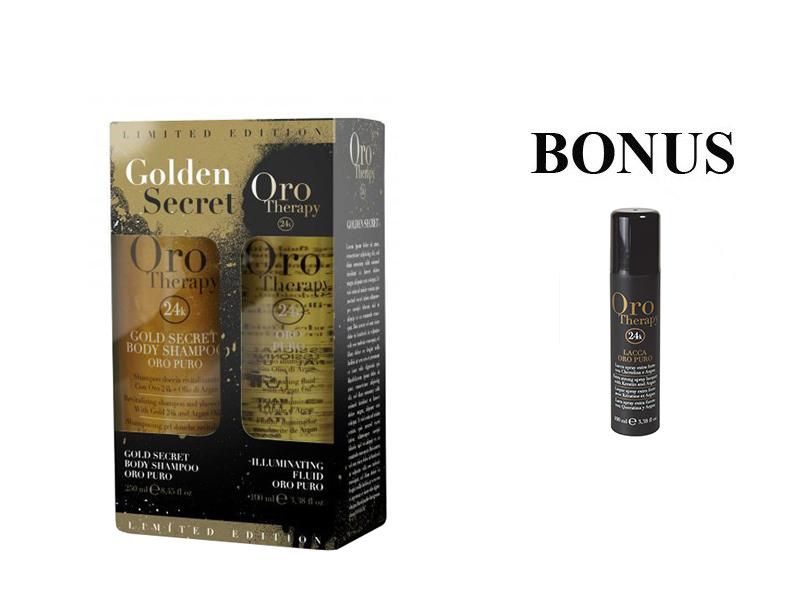 AKCIA: Oro Therapy Golden Secret sada (Oro Puro olej,100 ml + telový šampón Oro Puro, 250 ml) + Oro Therapy Lak, 100 ml
