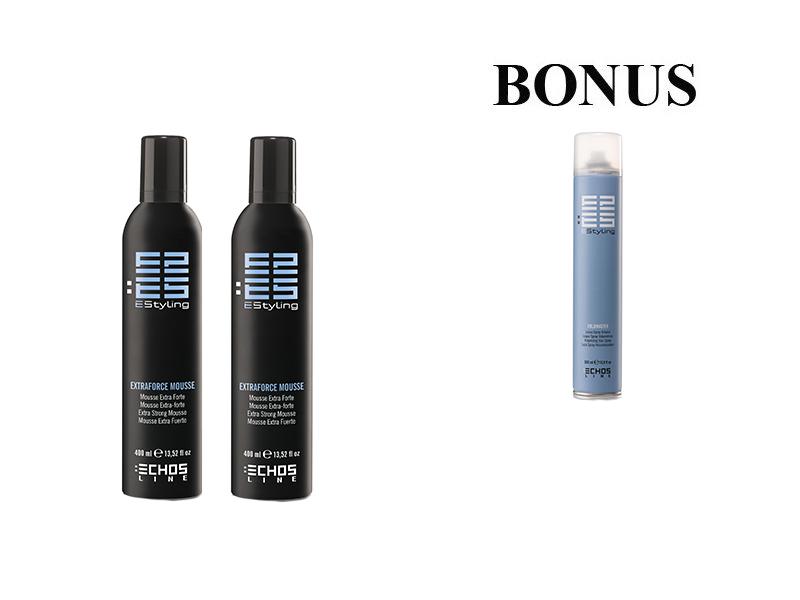 AKCE: 2x Echosline EXTRA force mousse - pěnové tužidlo s extra silnou fixací, 400 ml + Echosline VOLUMASTER - objemový lak na vlasy, 500 ml