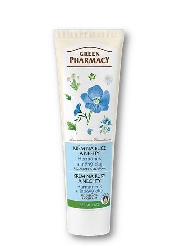 Green Pharmacy - krém na ruky a nechty harmanček a ľanový olej, 100 ml