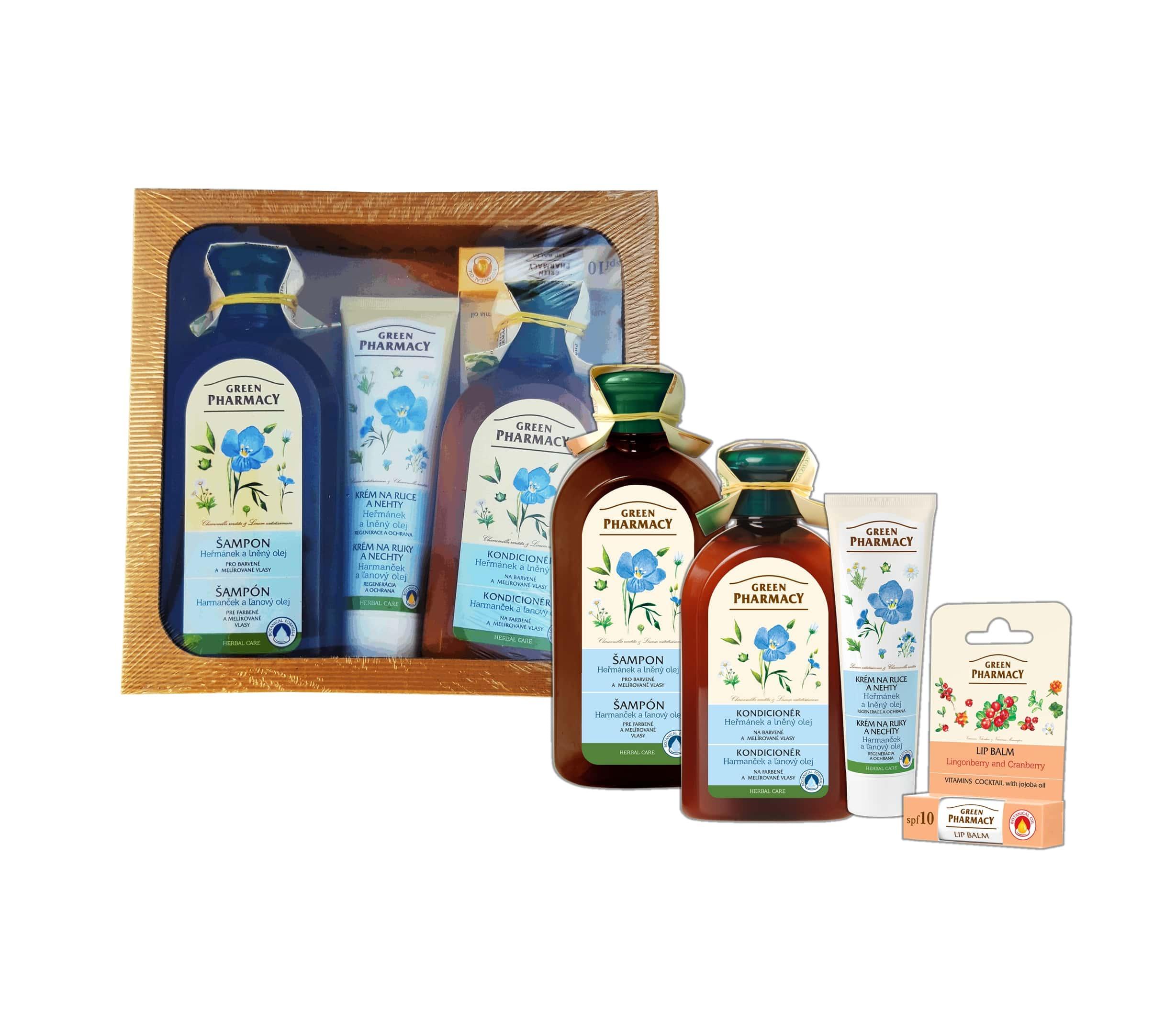 Green Pharmacy Heřmánek a Lněný olej - balíček pro barvené vlasy