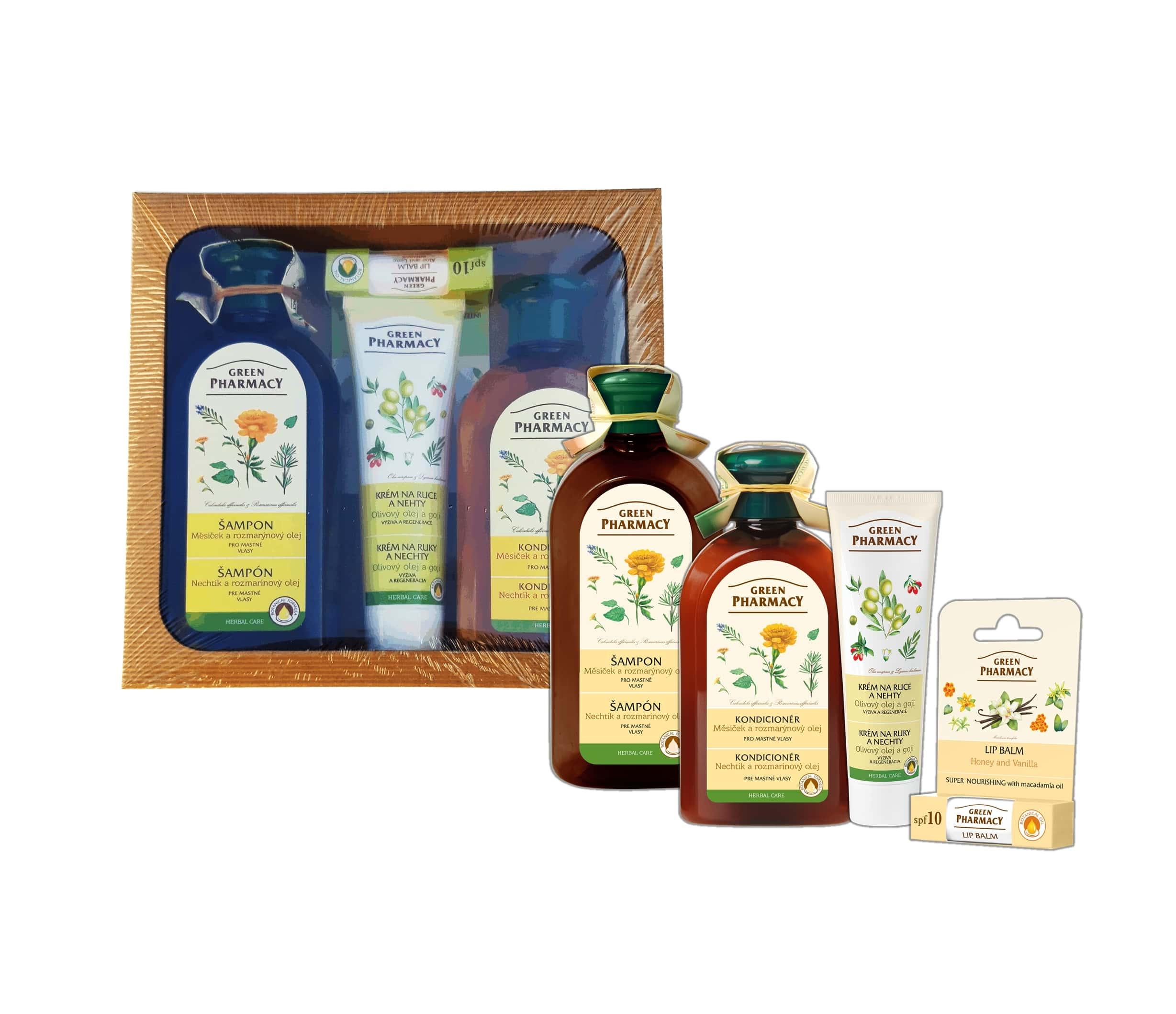 Green Pharmacy Měsíček a Rozmarýnový olej  - balíček na mastné vlasy