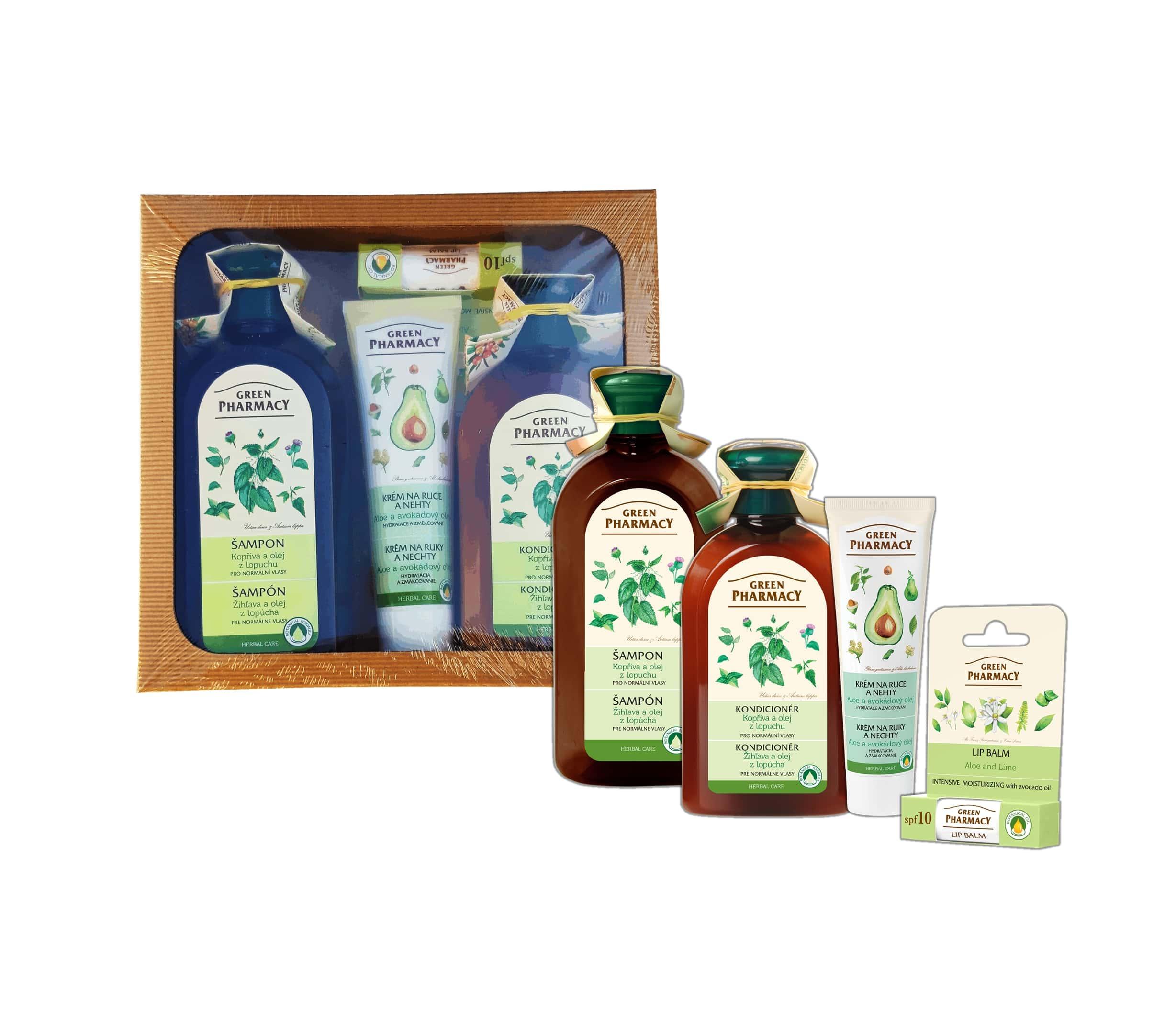 Green Pharmacy Kopřiva a olej z kořenů lopuchu - balíček pro normální vlasy