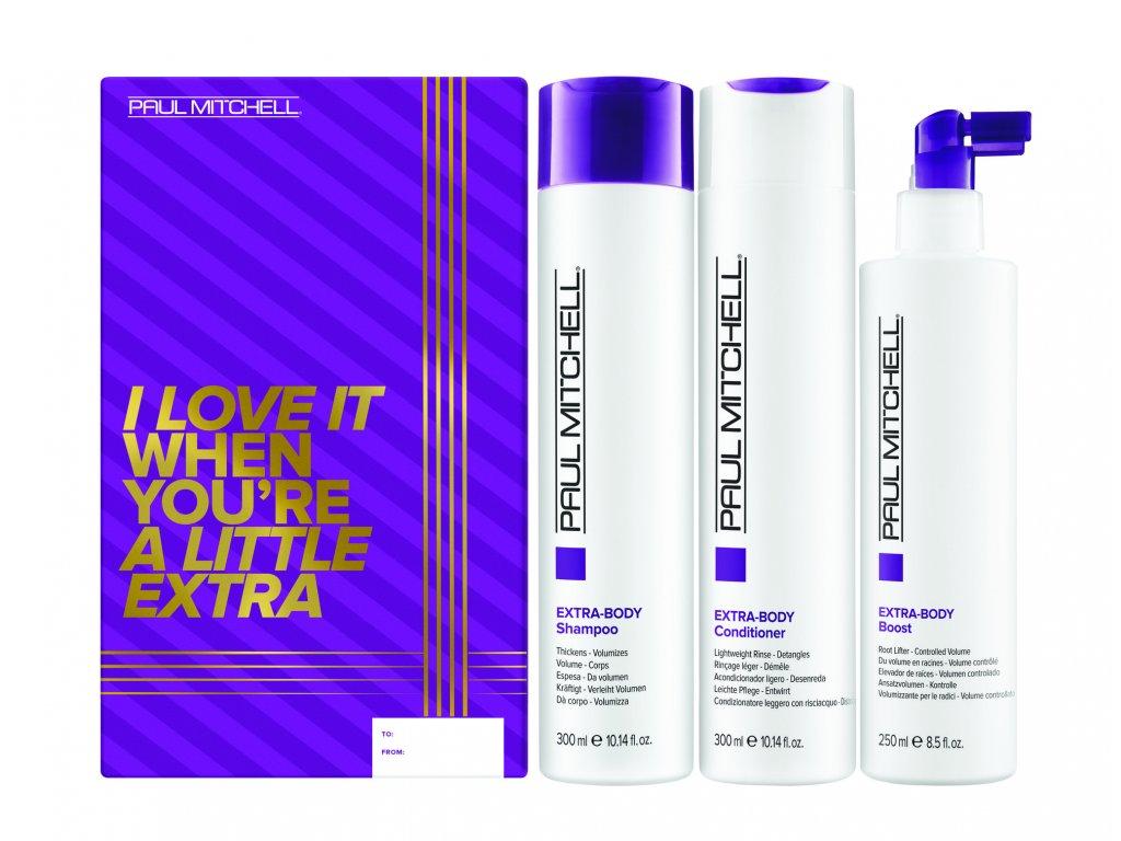 Paul Mitchell Extra-Body Trio - šampon pro objem vlasů, 300ml + kondicionér pro objem vlasů, 300ml + sprej pro objem vlasů, 250ml