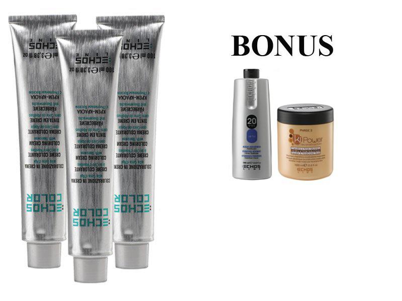 AKCE: 15 ks ECHOSLINE COLOR prof. krémová barva na vlasy + Oxidant 6%, 1000 ml + kiPower maska, 1000 ml