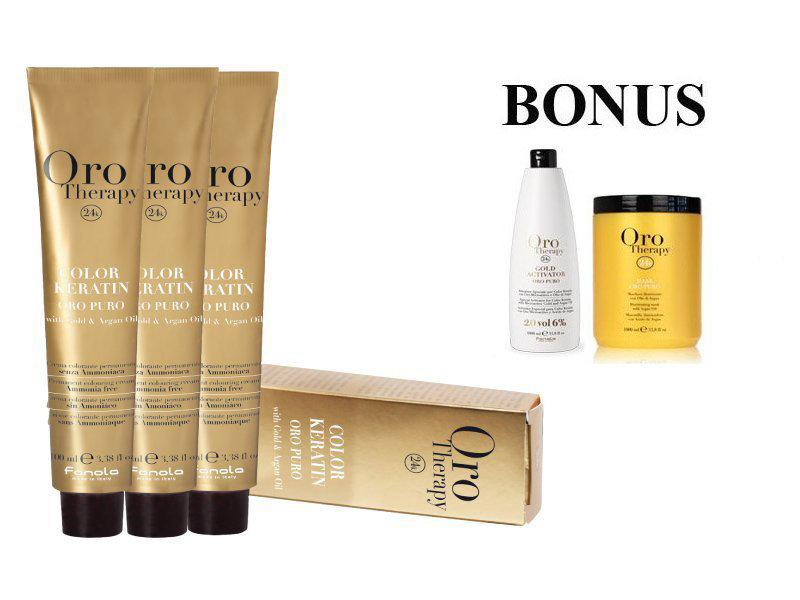AKCIA: 20 ks Fanola Oro puro - profesionálna bezamoniaková farba na vlasy, 100 ml + Fanola Oro oxidant 6% 1000 ml + maska Oro Therapy, 1000 ml
