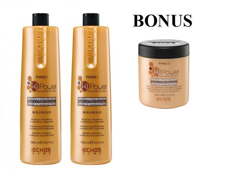 AKCE: 2x Echosline kiPower shampoo - šampon na vlasy s keratinem a kyselinou hyaluronovou, 1000ml + Echosline kiPower maska, 1000 ml