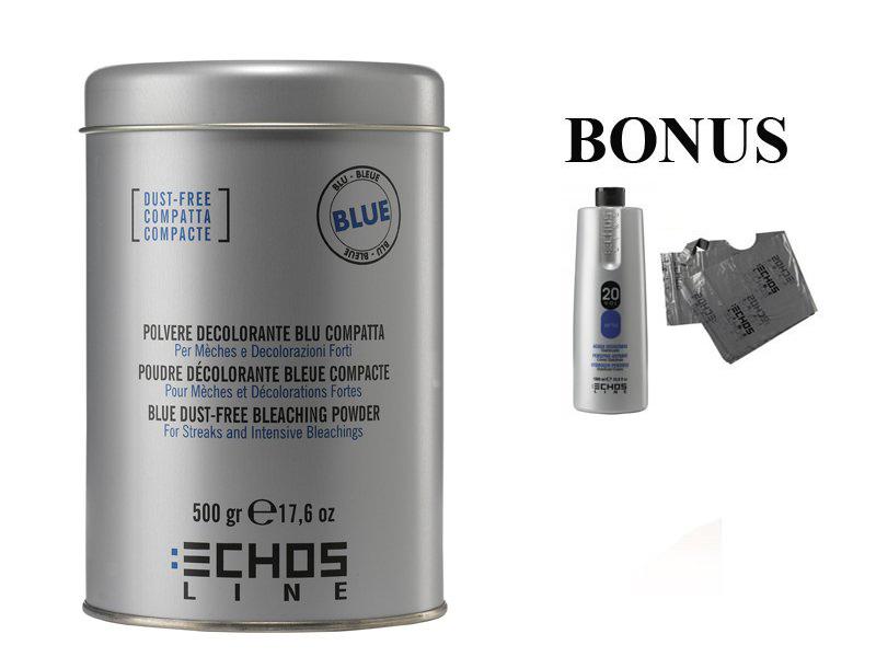 AKCE: ECHOSLINE Polvere decolorant BLUE compact - modrý, bezprašný melírovací prášek, 500g + oxidant 20 vol 6%, 1000 ml + jednorázové pláštěnky, 30 ks